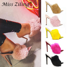 Load image into Gallery viewer, Luxury Furry Slide Sandals Shoes Woman 2019 Summer Fluffy Fur High Heels Peep Toe Pumps Women High Heel Female Sexy Wedding Shoe