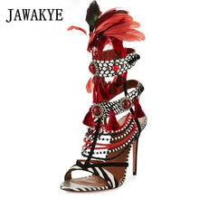 Load image into Gallery viewer, Bohemian Tribal Fashion Summer Feather Sandals Zebra Striped Fringed Beading Sandal Sexy High Heel Party T-show Shoes Women