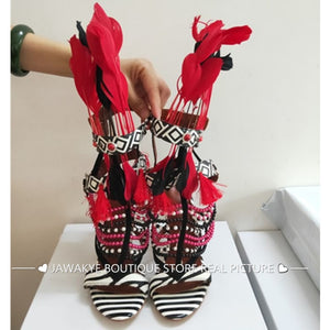 Bohemian Tribal Fashion Summer Feather Sandals Zebra Striped Fringed Beading Sandal Sexy High Heel Party T-show Shoes Women