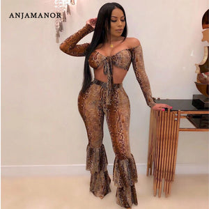 ANJAMANOR Sexy Snakeskin Print Sheer Mesh 2 Piece Set Women Fall Club Outfits Long Sleeve Crop Top and Bell Bottom Pants D90-AD7