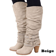 Load image into Gallery viewer, 2019 Newest Women Boots Thigh High Boots brand Rhinestone buckle Ladies Sexy mid calf Boots High Heels Shoes big size jmi