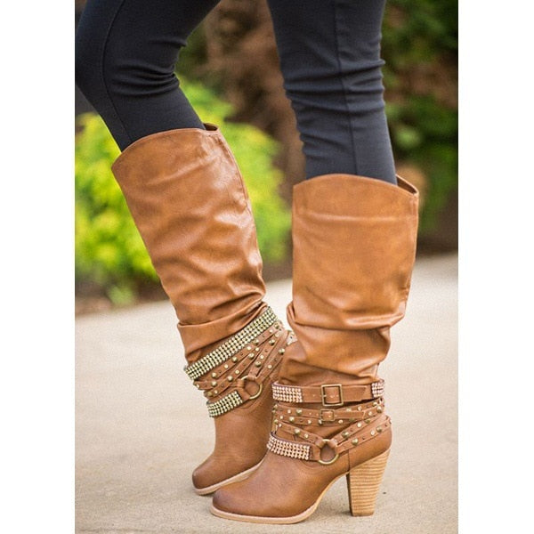 2019 Newest Women Boots Thigh High Boots brand Rhinestone buckle Ladies Sexy mid calf Boots High Heels Shoes big size jmi