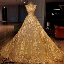 Load image into Gallery viewer, New Arrival Yellow Sequin Celebrity Dresses A-Line Sleeveless Illusion Red Carpet Dress Runaway Robe De Soiree Party Gowns