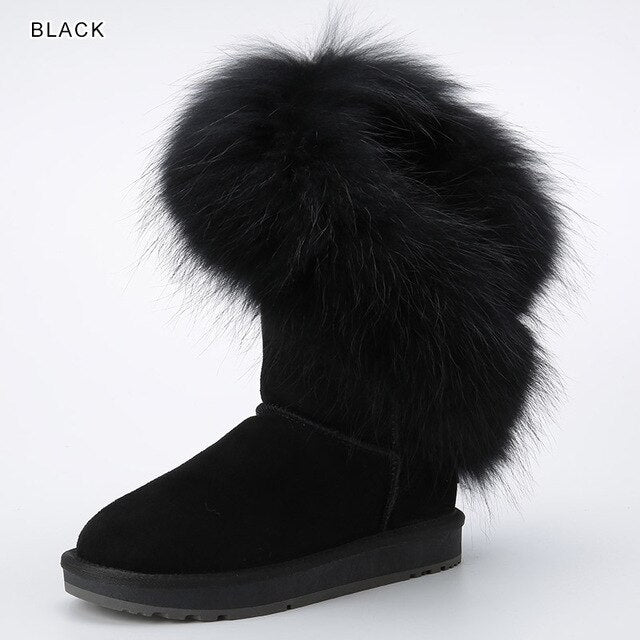 INOE Real White Fox Fur Cow Suede Leather Synthetic Fur Lined Women Winter Boots Fashion Pink Snow Boots Keep Warm Shoes 34-44