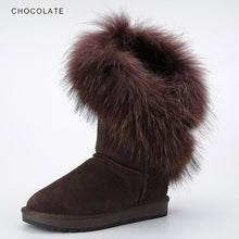 Load image into Gallery viewer, INOE Real White Fox Fur Cow Suede Leather Synthetic Fur Lined Women Winter Boots Fashion Pink Snow Boots Keep Warm Shoes 34-44
