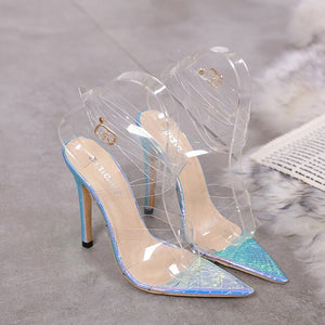 New Women 12cm Pumps Celebrity Wearing Simple Style PVC Clear Transparent Strappy Buckle Sandals High Heels Party Wedding Shoes