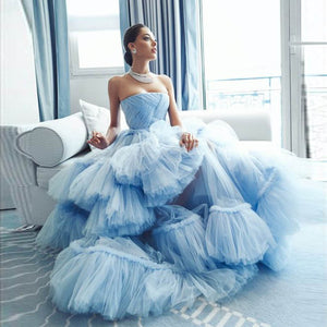 Fashion Couture Baby Blue Prom Gown Strapless Ruffled Puffy Tulle Evening Formal Dress Celebrity Pageant Dresses robe de soiree