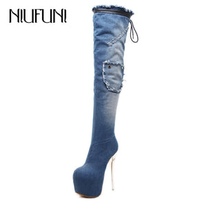 NIUFUNI Ladies Denim Over The Knee Boots Platform Crystal Thin High Heels Sexy Thigh High Boots Women Winter Shoes Warm Botas