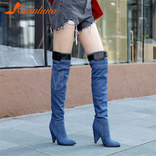 Load image into Gallery viewer, KARINLUNA Brand New Denim Thigh High Boots Ladies High Heels Pointed Toe Shoes Woman Casual Party Sexy Over The Knee Boots Women