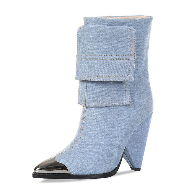 KARINLUNA Brand New Denim Thigh High Boots Ladies High Heels Pointed Toe Shoes Woman Casual Party Sexy Over The Knee Boots Women