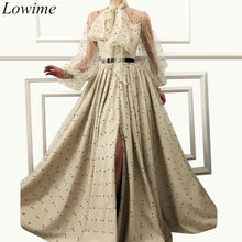 Load image into Gallery viewer, Newest Muslim Dubai Celebrity Dresses 2019 Long Arabic Couture Red Carpet Gowns With Sashes Long Sleeves Illusion Robe De Soiree