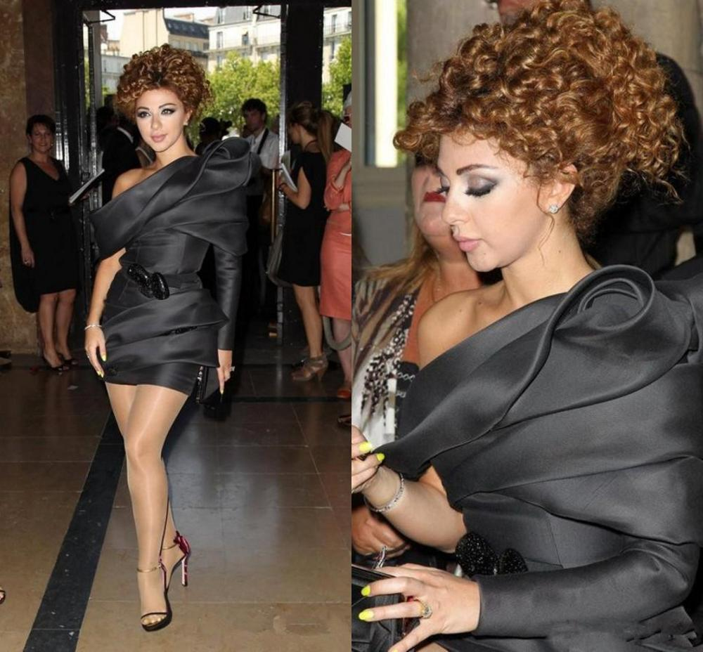 New Fashion Myriam Fares Celebrity Dresses With One Shoulder Ruched Short Sexy Custom Made Modest Black Cocktail Gowns