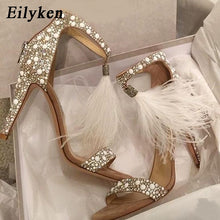 Load image into Gallery viewer, Eilyken Sexy Women Sandals Pumps Summer Rhinestone Zipper Feather High Heel Apricot  Women Wedding Pumps Shoes