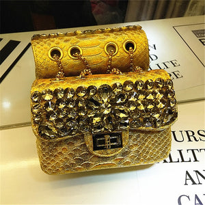 Luxury Diamond Evening Bags Fashion Crocodile Chain Shoulder Messenger Bag High Quality Women Purse and Handbags Bolso Mujer