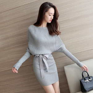 Knitted Sweater Dress With Sexy O Neck Belt