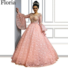 Load image into Gallery viewer, 2020 Luxury Pink Lace Celebrity Dress Muslim Formal Red Carpet Runaway Dress Flowers Turkish Pageant Gowns Dubai вечернее платье