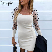 Load image into Gallery viewer, Sampic Sexy Woman Fashion Casual Slim Female Bodycon Knitted Sweaters Dress Square Collar Puff Mesh Polka Dot Long Sleeve Dress