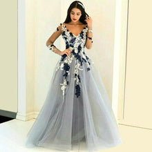 Load image into Gallery viewer, 2019 Hot Sale Custom Made Colorful V Neck Appliqued Lace Long  Sleeve Sexy Backless A Line Tulle Floor Length Celebrity Dresses
