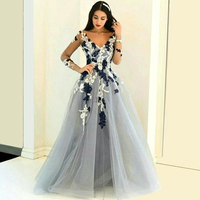 2019 Hot Sale Custom Made Colorful V Neck Appliqued Lace Long  Sleeve Sexy Backless A Line Tulle Floor Length Celebrity Dresses