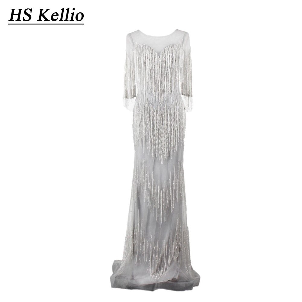 HS Kellio Glamour Beading Shiny Celebrity Dress Silver Floor Length Luxury Party Gown