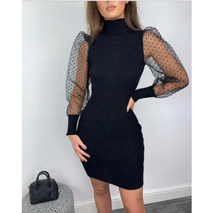 Elegant Women Knit Sweater Dress Mesh Puff Long Sleeve Turtleneck Fit Dresses Sexy Slim Autumn Casual Solid Skinny Knitwear
