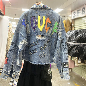 Graffiti Letters Personality Short Holes Ruffled Heavy Industry Beaded Diamond Denim Jacket