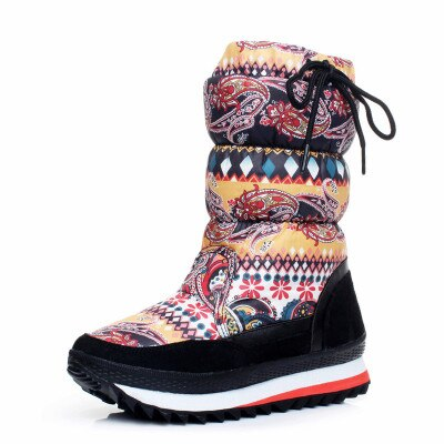 ESOV Women's Snow Boots Waterproof Winter Shoes Women Mid-Calf Boots 2019 Winter Fur Wool Warm Ladies Winter Boot Non-Slip Shoes