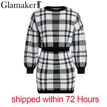 Load image into Gallery viewer, Glamaker Plaid knitted two-piece suit sexy autumn Dress women elegant winter sweater dress Sexy female fashion party short dress