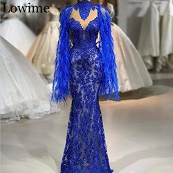2020 Wholesale Royal Blue Lace Celebrity Dress Beading Gorgeous Red Capet Formal Evening Dress Kaftan Abendkleider Feathers Gown