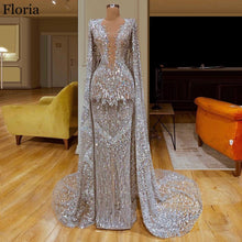 Load image into Gallery viewer, New Arabic Sequin Celebrity Dress 2020 Mermaid Long Dubai Red Carpet Prom Dress With Cape Turkish Evening Dress Pageant Gowns