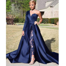 Load image into Gallery viewer, Blue 2019 Formal Celebrity Dresses A-line One-shoulder Slit Sexy Long Evening Dresses Famous Red Carpet Dresses