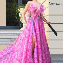 Load image into Gallery viewer, 2019 New Arrival Pink Chiffon Celebrity Dresses Sexy Bohemian Long Beach Evening Prom Party Gowns Special Occasion Red Carpet