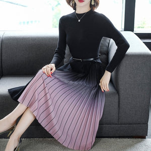 Fashion Korean Sweater Dress Women Knitted Sweaters Dresses Pleated Women Dress Plus Size Woman Thick Sweaters Dresses Elegant