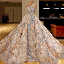 Load image into Gallery viewer, Muslim One Shoulder Celebrity Dress 2020 Crystals Special Fabric Red Carpet Runaway Dress Long Evening Dress Pageant Gowns