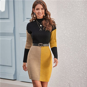 SHEIN Color Block Rib-knit Bodycon Sweater Dress Without Belt Women Spring Winter Stand Collar Knitted Elegant Pencil Dresses