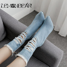 Load image into Gallery viewer, Women Zipper Boots Denim Ankle Boots Thin heels Fashion Pointed toe Ladies Sexy shoes New Motorcycle boots tassel Hole Booties