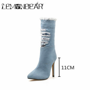Women Zipper Boots Denim Ankle Boots Thin heels Fashion Pointed toe Ladies Sexy shoes New Motorcycle boots tassel Hole Booties