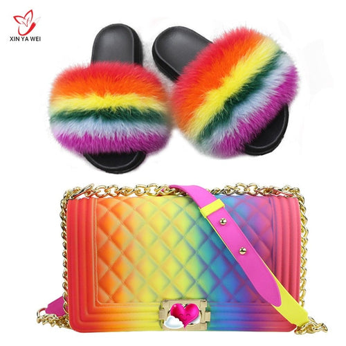100% real fox fur slippers women fur slides rainbow shoe cute fur flip flops women travel Furry shoes jelly bags Set fashion bag