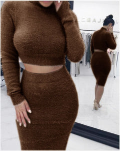 Winter Solid Color Fashion Women Sexy Dresses Female Long Sleeve Bodycon Party Club Short Hairy Dresses Outfits Sweater Dress