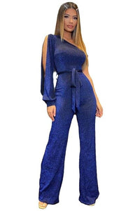 Blue Sparkle Sexy One Shoulder Split Sleeve Party Jumpsuit Women Fashion Casual Romper Club Party Tie Belt Overalls Jumper S-XL