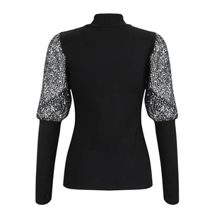 Women Fashion Sparkle Puff Sleeve Turtleneck Tops Ladies Pullover Solid Casual Sweater Blouse Loose Jumper Ribbed Shirt New
