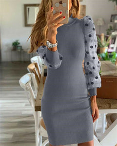Women's Knit Bodycon Sweater Dress Long Puff Sleeve Long Jumper Pencil Dresses 2020 New Ladies Casual Dress Winter Dress hot