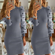 Load image into Gallery viewer, Women's Knit Bodycon Sweater Dress Long Puff Sleeve Long Jumper Pencil Dresses 2020 New Ladies Casual Dress Winter Dress hot