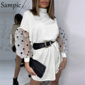 Sampic Sexy Woman Fashion Casual Slim Female Bodycon Knitted Sweaters Dress Square Collar Puff Mesh Polka Dot Long Sleeve Dress