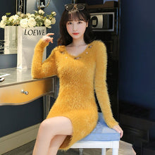Load image into Gallery viewer, Women Autumn Winter Faux Mink Cashmere Sweater Dress Embroidered V-Neck Long Sleeve Knitted Sweaters Slim Solid  Vestidos N72