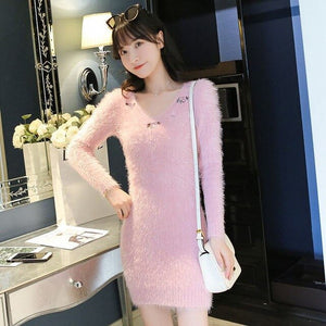 Women Autumn Winter Faux Mink Cashmere Sweater Dress Embroidered V-Neck Long Sleeve Knitted Sweaters Slim Solid  Vestidos N72
