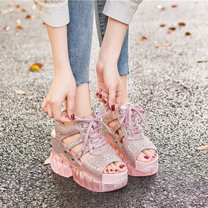 SWONCO Pink Shoes Summer Sandals Women Rhinestone Shoe 2020 Female Fashion Luxury Crystal Chunky Sandals Platform Jelly Shoes