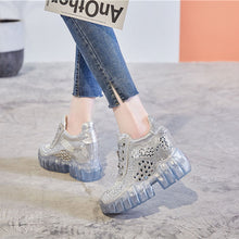 Load image into Gallery viewer, SWONCO Pink Shoes Summer Sandals Women Rhinestone Shoe 2020 Female Fashion Luxury Crystal Chunky Sandals Platform Jelly Shoes