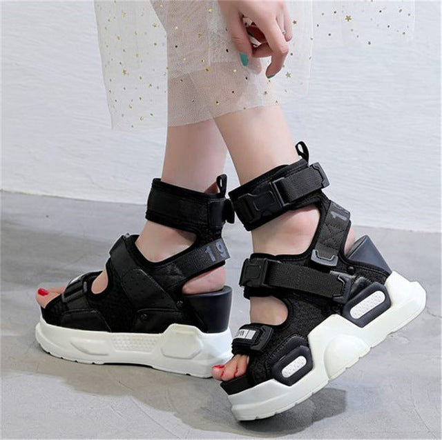 NAYIDUYUN  Summer Sandals Shoes Women Leather Platform Wedges High Heel Gladiator Sandals Rhinestone Sneakers Trainers Shoes