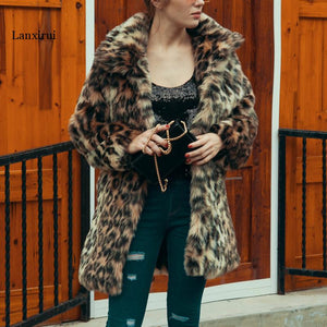 Chic Womens Leopard Faux Fur Coat Winter Thicken Warm Long Sleeve Slim Fur Coat Outerwear Elegant Trench Lanxirui Overcoats